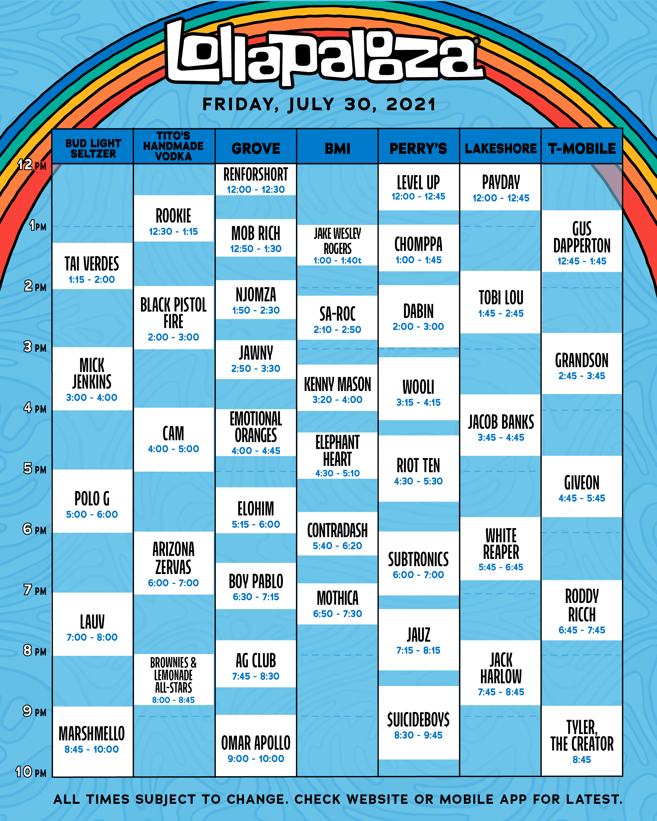 Lollapalooza Full 2021 Schedule Announced! 3