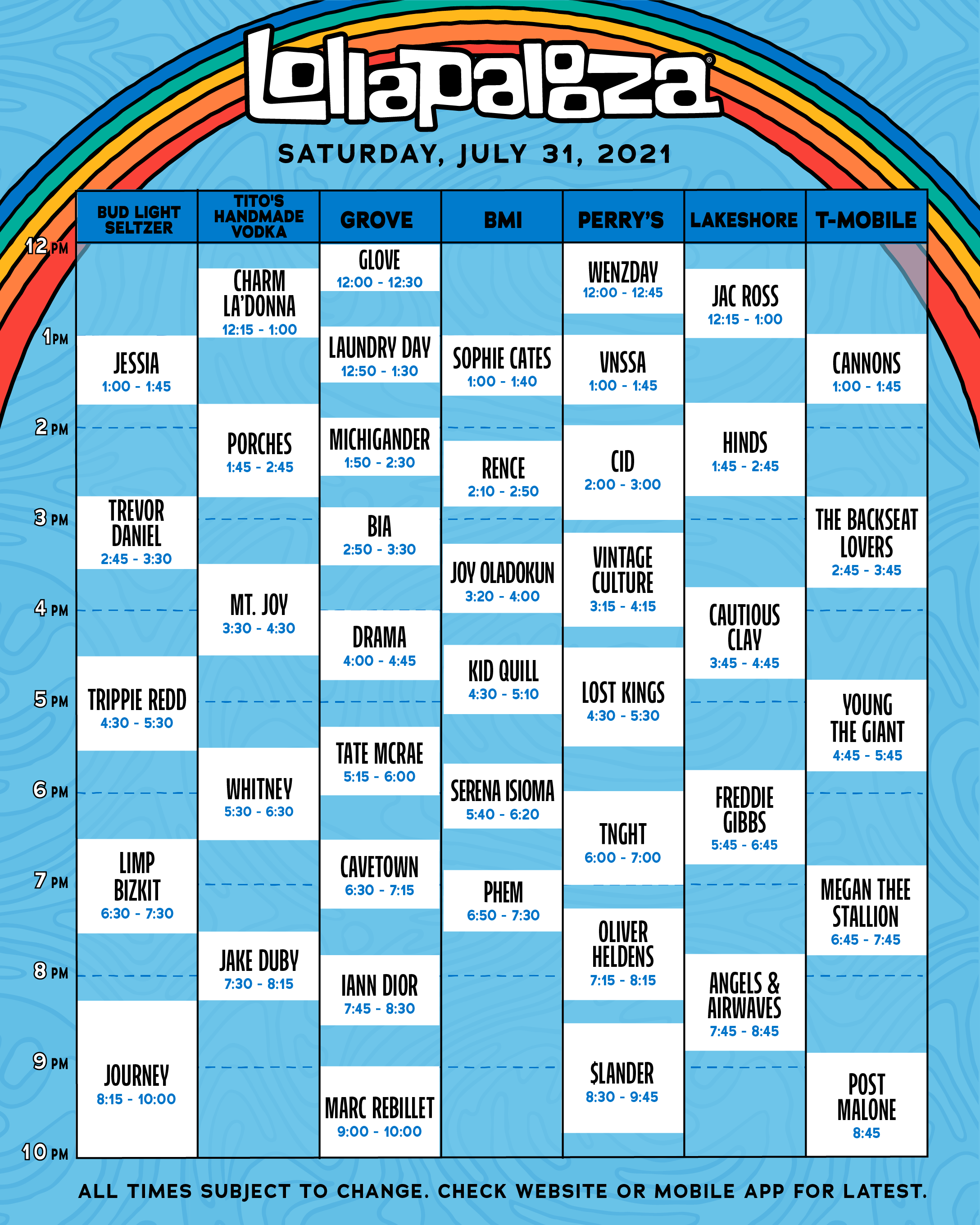 Lollapalooza Full 2021 Schedule Announced! 4